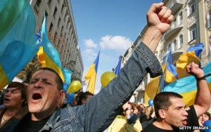 Ukrainian nationalists scaring the country's first Gay Pride march off the streets.